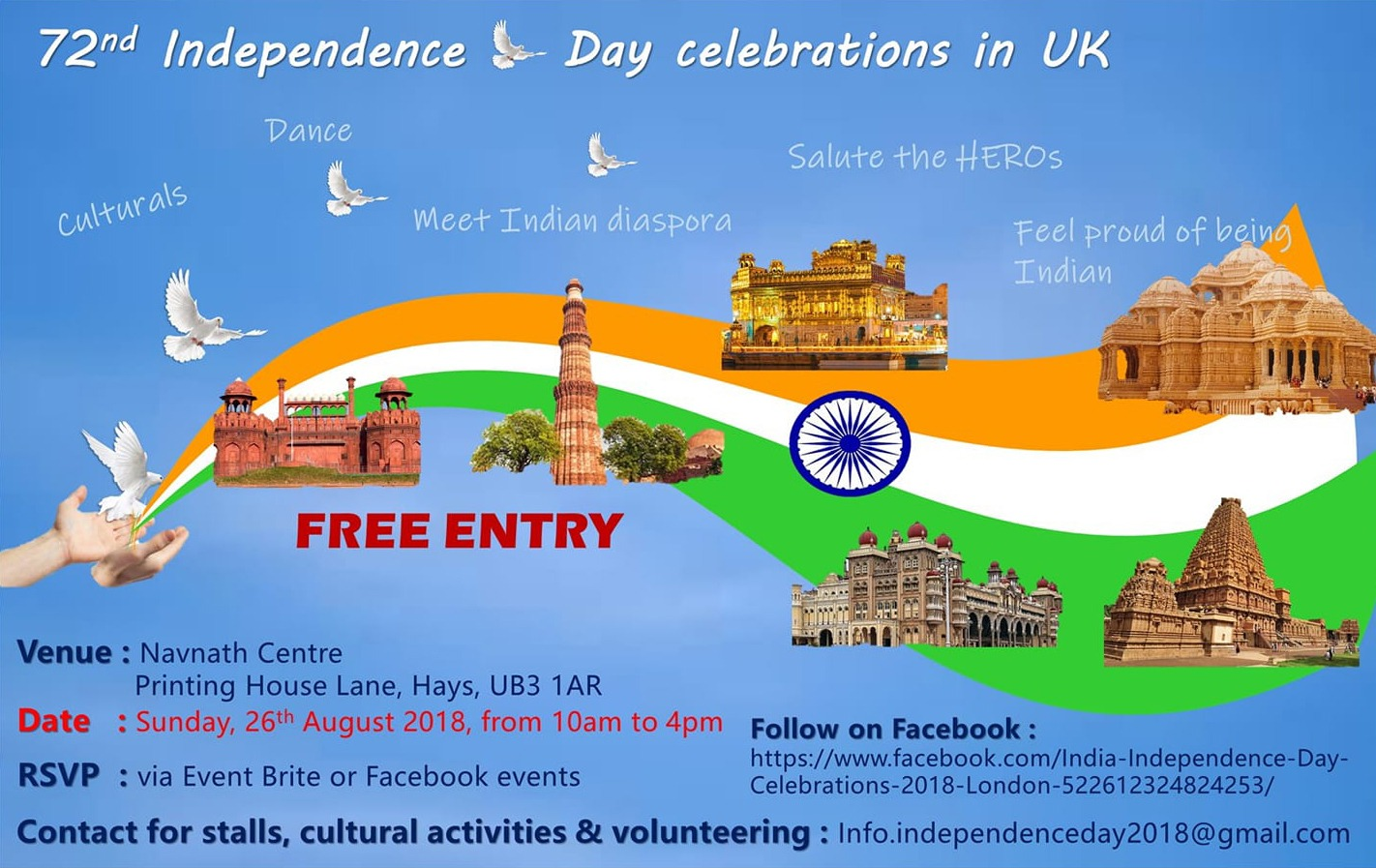 72nd Indian Independence Day Celebrations In Uk Free Entry