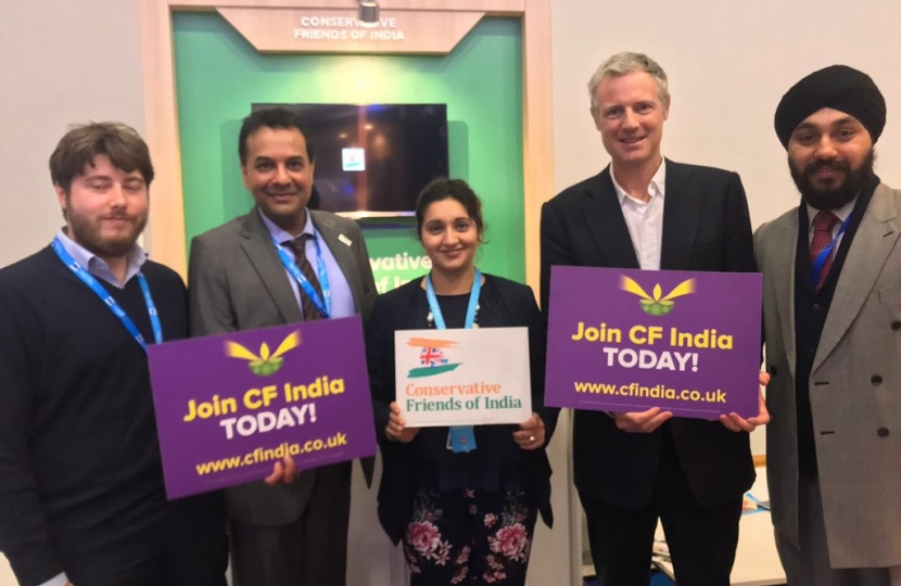 Mr Zac Goldsmith MP, Co-Chairman of CF India with Cllr. Reena Ranger and CF India team