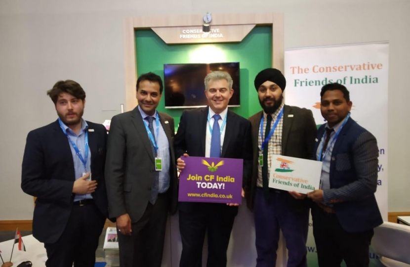 The Rt. Hon. Brandon Lewis MP, Chairman of the Conservative Party with CF India team