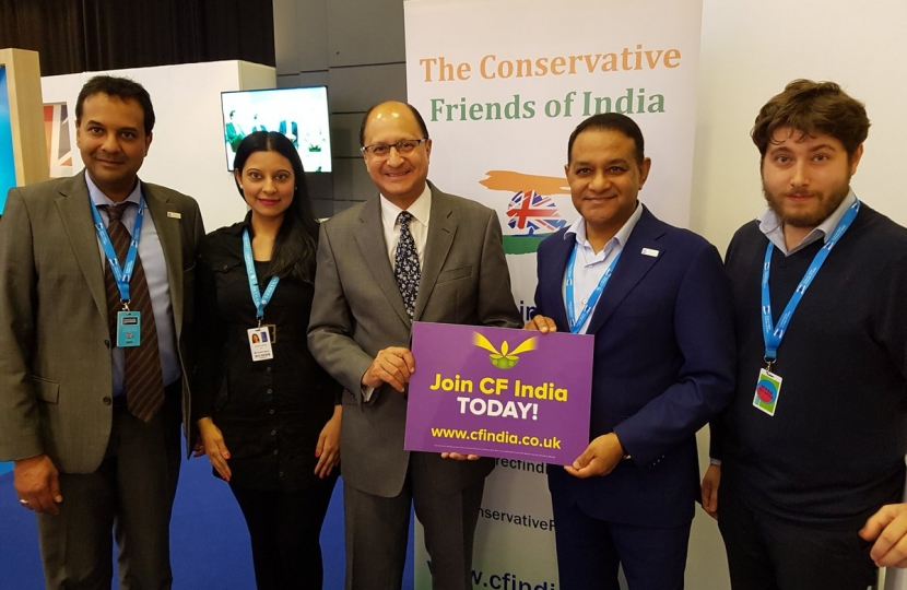 Mr Shailes Vara, former Chairman of CF Idina, Dr Atul Pathak OBE, Patron of CF India with CF India Team