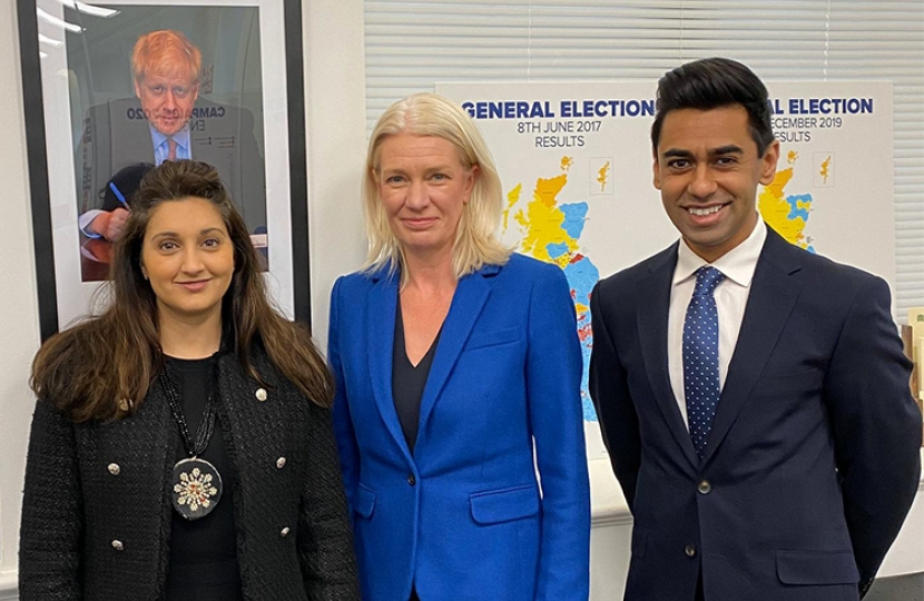 Chairman of the Conservative Party The Rt. Hon. Amanda Milling MP, Cllr. Reena Ranger OBE and Cllr. Ameet Jogia