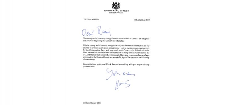 Letter from The Prime Minister to Dr. Rami Ranger CBE